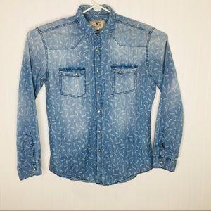 Zara Man Slim Fit Snap Button Western Denim Shirt